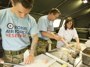 Cooking with RAF soldiers