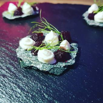 Beetroot, Goats Cheese and Charcoal and Rye Cracker Canape