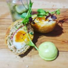 Smoked Salmon Quails Scotch Egg, Dill Emulsion & Pickled Dill Cucumbers
